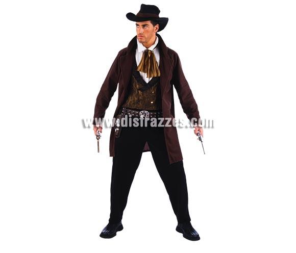 Disfraz de Vaquero Cowboy adulto Deluxe. Alta calidad. Hecho en España. Disponible en varias tallas. Incluye pantalón, sombrero, chaqueta con camisa, y chaleco. Cartuchera y Pistolas NO incluidas, podrás verlas en la sección Complementos.