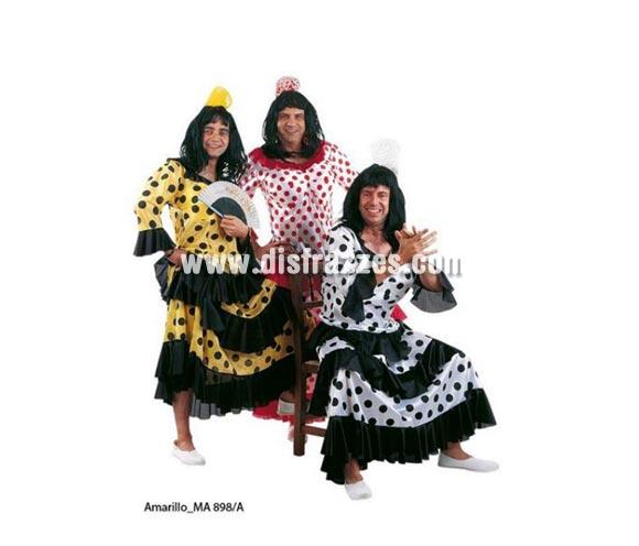 Disfraz de Flamenca o Sevillana de hombre amarillo/negro Deluxe. Alta calidad. Hecho en España. Disponible en varias tallas. Incluye vestido con relleno. Peluca NO incluida, podrás verla en la sección Pelucas.