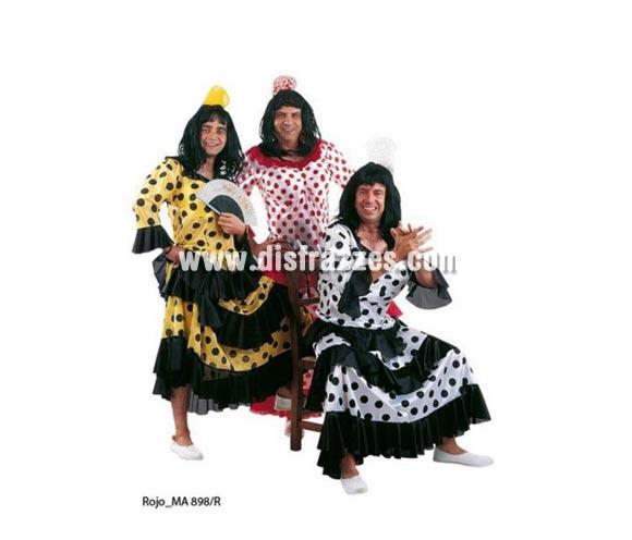 Disfraz de Flamenca o Sevillana de hombre blanco/rojo Deluxe. Alta calidad. Hecho en España. Disponible en varias tallas. Incluye vestido con relleno. Peluca NO incluida, podrás verla en la sección Pelucas.